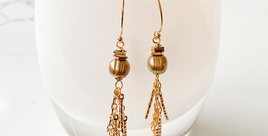 Dark Freshwater Pearl Sea Fan Tassel Earrings