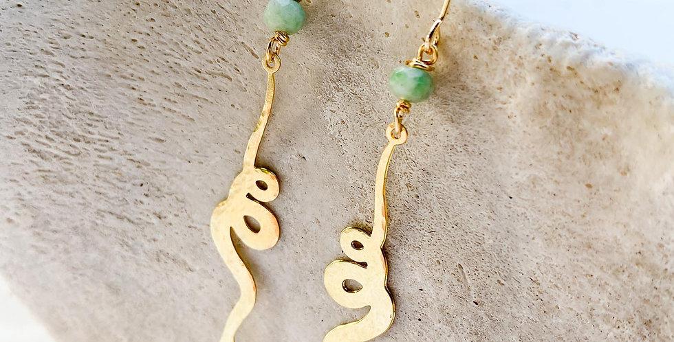 Brass Snake Drop Earrings
