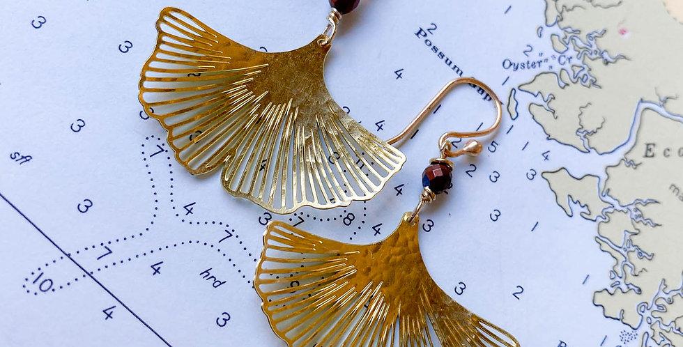 Ginko Raw Brass Earrings