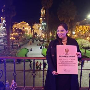 Presidenta FIASEET recibe reconocimiento de la Ciudad de Arequipa - Perú.