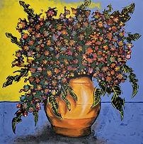 Simon Pink Flowers In Terracotta.jpg