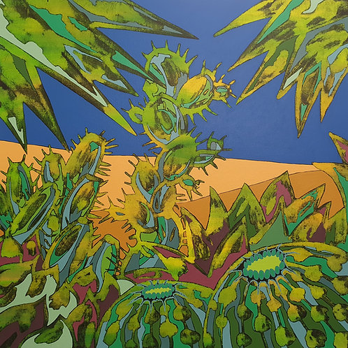 Cacti Dune - limited edition giclée print 50cm x 50cm