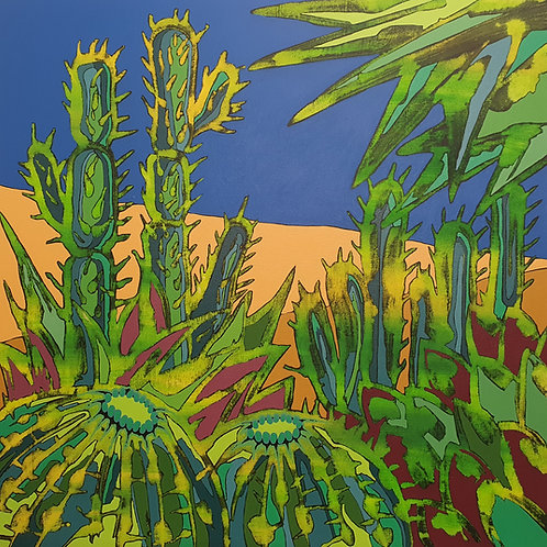 Cacti Heat - limited edition giclée print 50cm x 50cm