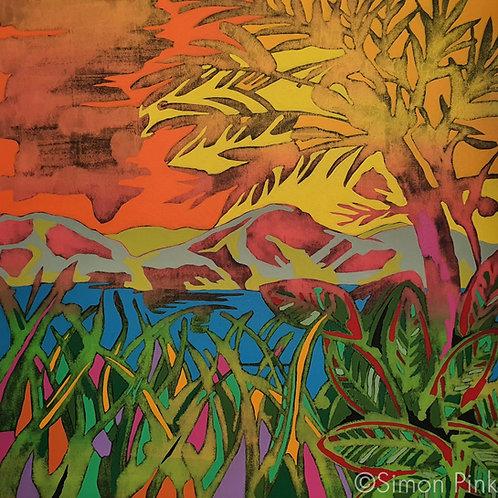 Mountain Sunset - limited edition giclée print 50cm x 50cm