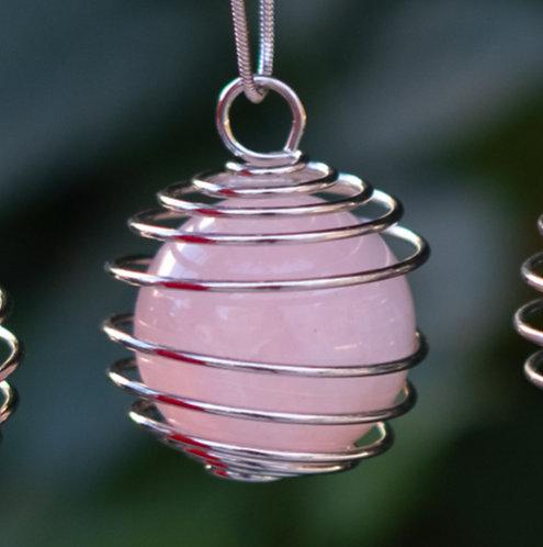 Rose Quartz Spiral Necklace