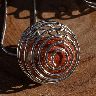 Brown Goldstone Spiral Necklace