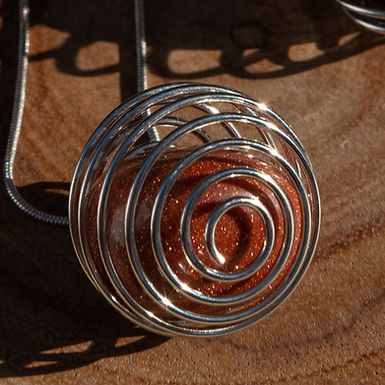 Brown Goldstone Spiral Necklace