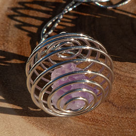 Amethyst Cluster Spiral Necklace