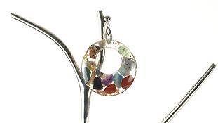 Mixed Gemstone Circle Necklace