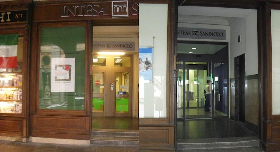 Intesa San Paolo Cuneo  Via Roma 21 - Ingresso (Prima e Dopo)