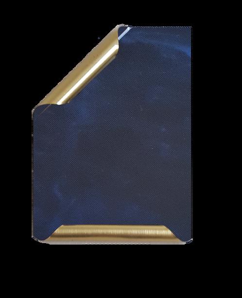 Placa Manuscrito latonado mármol azul