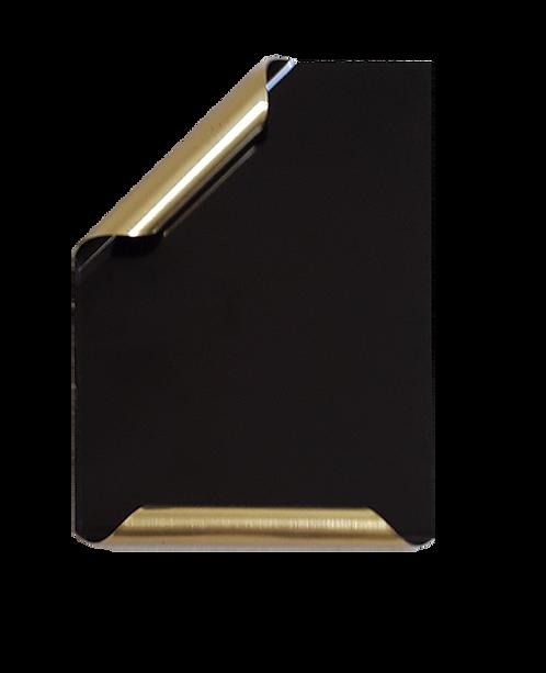 Placa Manuscrito latonado negro brillante