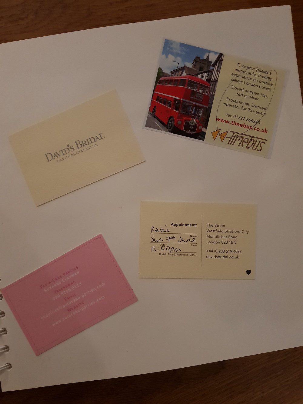 A modern day scrapbook with business cards