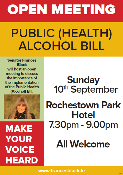 Cork open meeting on the Public (Health) Alcohol Bill