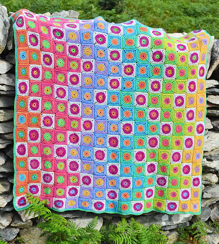Rainbow Foxgloves Handmade Crochet Blanket