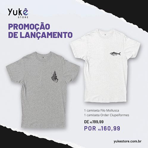 1 camiseta Filo Mollusca + 1 camiseta Order Clupeiformes