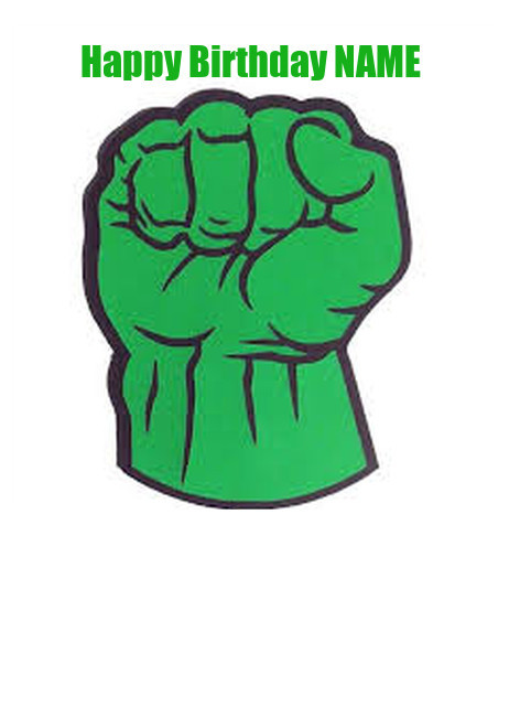 Hulk Fist cake topper Edible printing Kingdom Print It Eat It