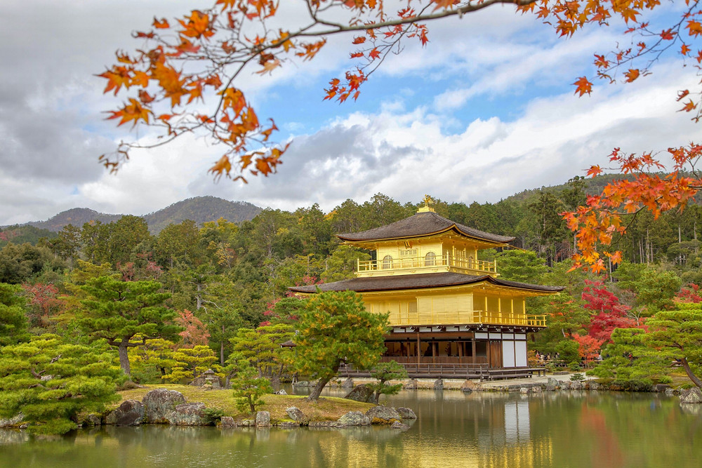 Kinkaku-Ji temple on a fall December morning in Kyoto