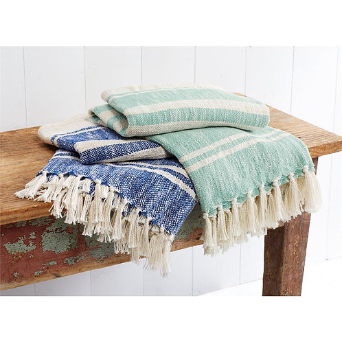 Shades of Blue Stripe Throw Blankets