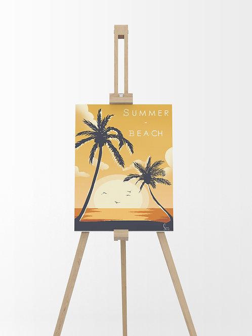 Sunset Beach : Tableau sur toile 40x30cm