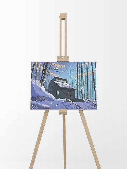 Maison dans la neige : Tableau sur toile 40x30 cm