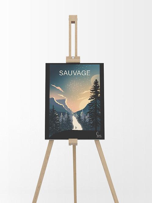 Montagne Loup : Tableau sur toile 40x30 cm