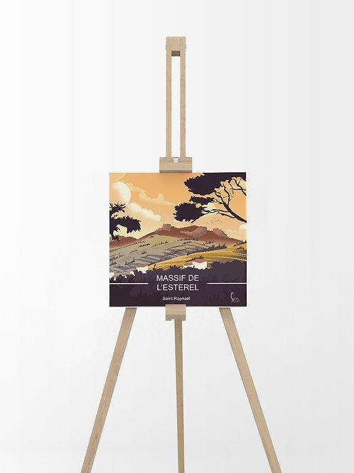 Massif de l'Esterel : Tableau sur toile 40x40 cm