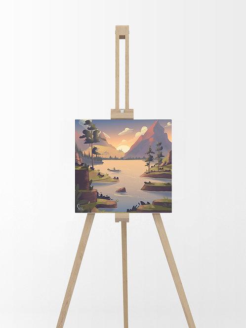 Montagne Lac : Tableau sur toile 40x40 cm