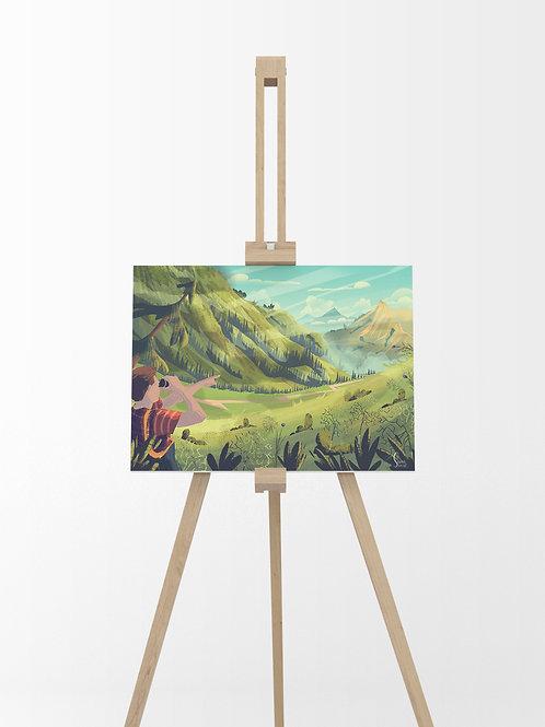 Escapade à la montagne : Tableau sur toile 40x30 cm