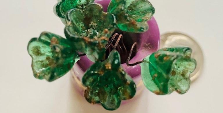 Venetian Glass Flowers- Green Translucent w Goldstone