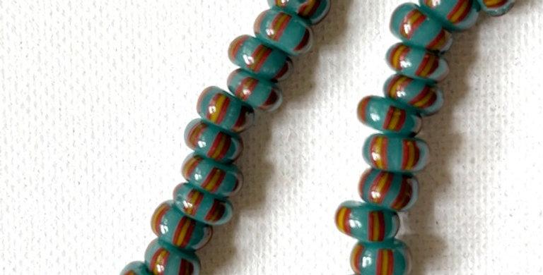 Vintage Venetian Cane Beads Teal, Oxblood & Yellow