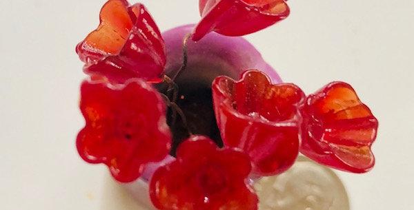 Venetian Glass Flowers-Red Translucent