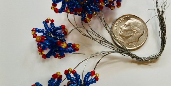 Venetian Seed Bead Flowers- Red, Blue & Gold