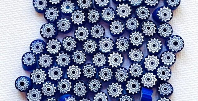 Murrine-Blue & White Millefiori