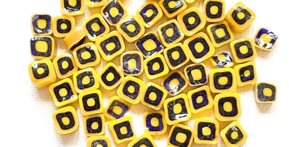 Murrine-Yellow and Transparent Blue Square