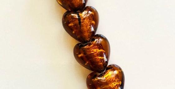 Italian Lampwork Hearts w/ Silver Foil