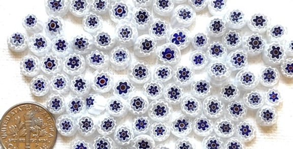 Murrine - Blue White & Red Transparent Millefiori