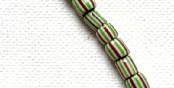 Vintage Venetian Cane Beads White, Oxblood & Green