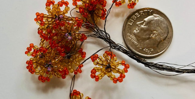 Venetian Seed Bead Flowers-Yellow & Orange
