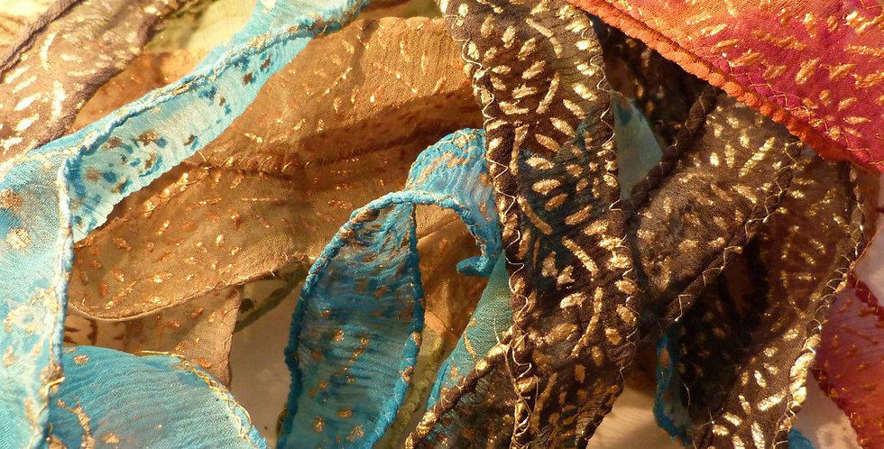 Six Assorted Embellished, Silk Ribbons
