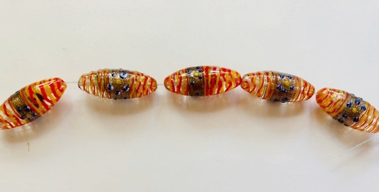 Italian Lampwork Beads with Gold Stone
