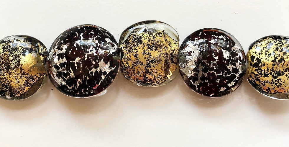 Italian Lamp Work Beads 24k Gold & Silver