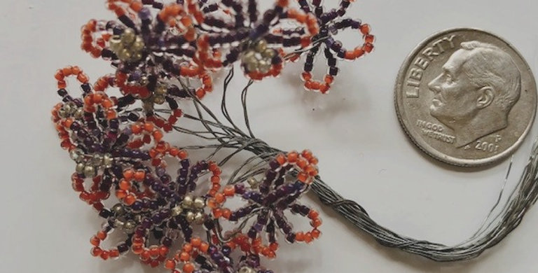 Venetian Seed Bead Flowers- Purple & Orange