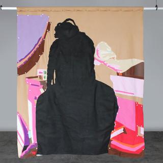 """Lucia (Back), 2020 72""""x64"""" Acrylic on canvas, fleece, felt and snap buttons"""
