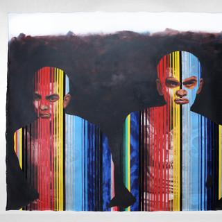 """Boogie Man, 2019 84""""x96"""" Acrylic and satin on canvas"""