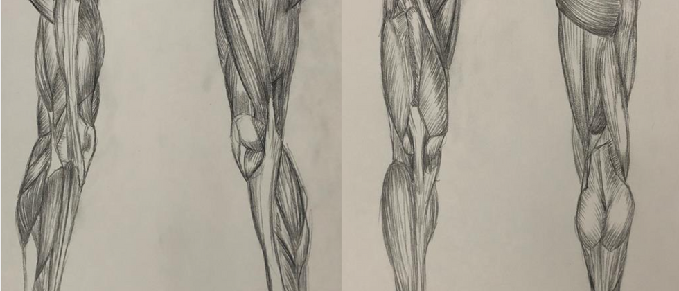 """Kaelyn Franks, 2020 Graphite on paper 2x 14""""x11""""  Drawing III Figure Drawing Anatomy of the Legs Texas Tech University"""