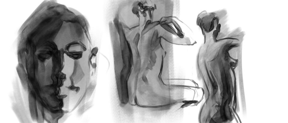 "Jon Akene, 2021  Digital drawing 24""x36""  Drawing III Figure Drawing Portrait and Figure Studies Texas Tech University"