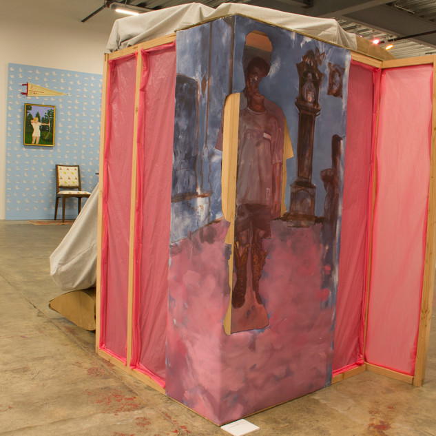 "Daydreaming in the Projects (Back), 2018 60""x48""x60"" Acrylic on canvas, cardboard, fabric, plastic and wood"