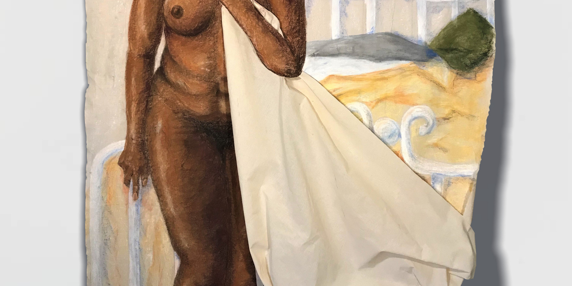 """Hannah Trostle, 2020 Pastel on canvas 60""""x48""""x3""""  Drawing III Figure Drawing Body in Situation Texas Tech University"""