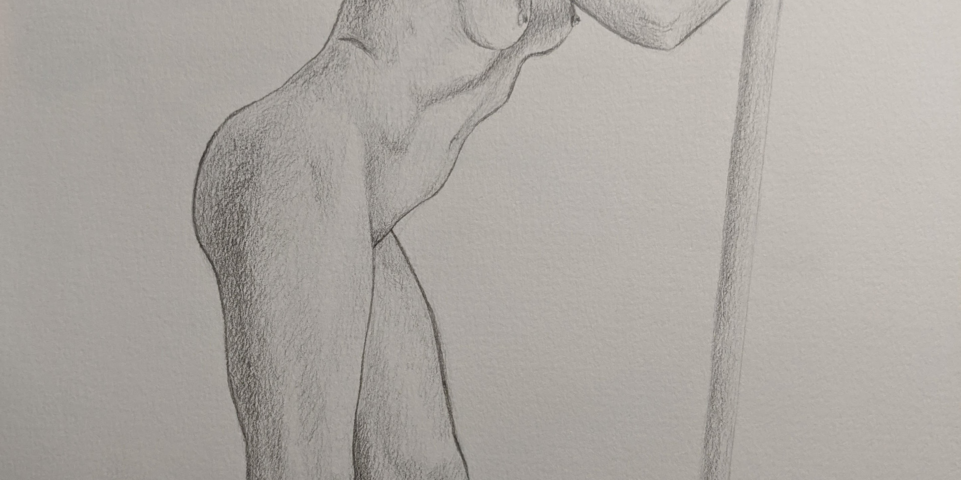 """Jenny Bowler, 2021 Graphite on paper 14""""x11""""  Drawing III Figure Drawing Contour Line Drawing Texas Tech University"""